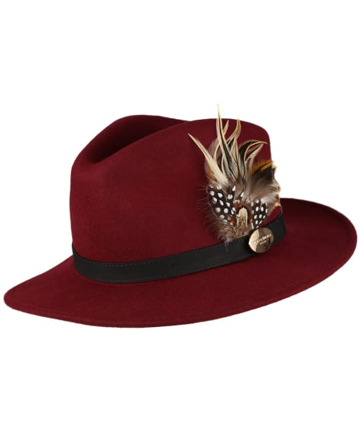 Women's Hicks & Brown The Suffolk Fedora - Guinea and Pheasant Feather - Maroon