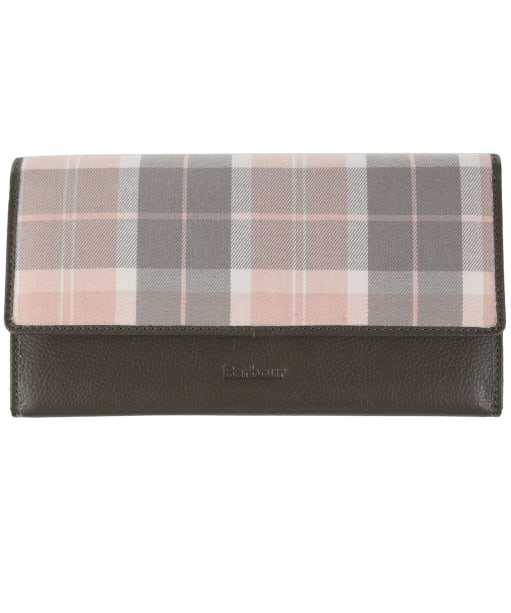 Women's Barbour Leather Travel Organiser - Grey / Pink Tartan