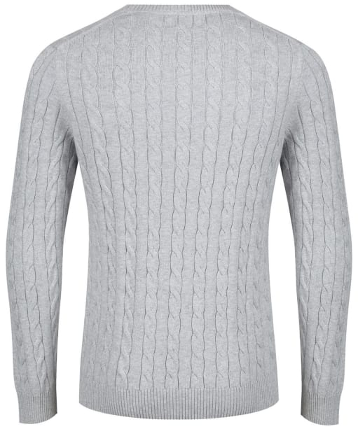 Men's GANT Cotton Cable Crew Sweater - Light Grey Melange