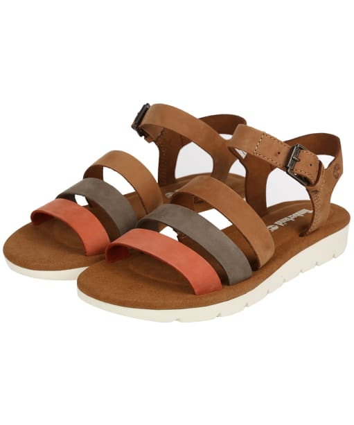 Women's Timberland Lottie Lou 3-Band Sandals - Rust Nubuck Multi