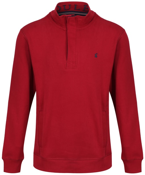 Men's Joules Deckside Half Zip Sweatshirt - Deep Red