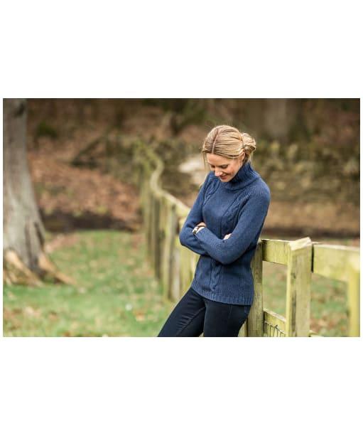 Women's Schoffel Merino Cable Roll Neck Sweater - Indigo