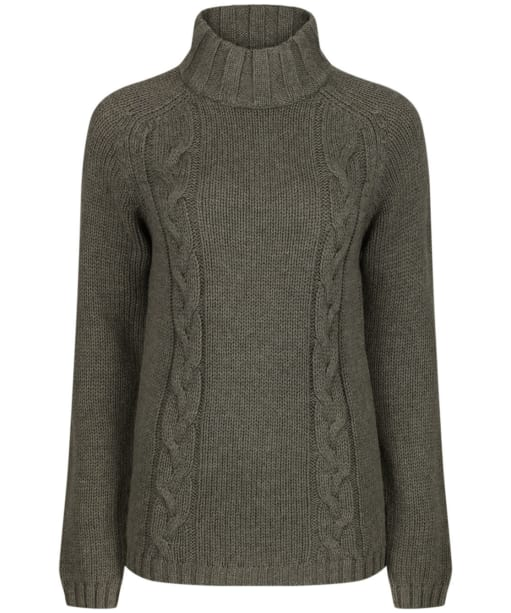 Women's Schoffel Merino Cable Roll Neck Sweater - Grousemoor