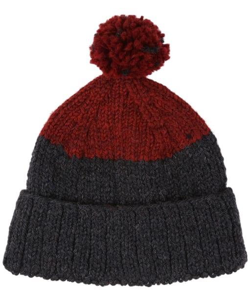 Men's Edmund Hillary Block Bobble Hat - Claret / Charcoal