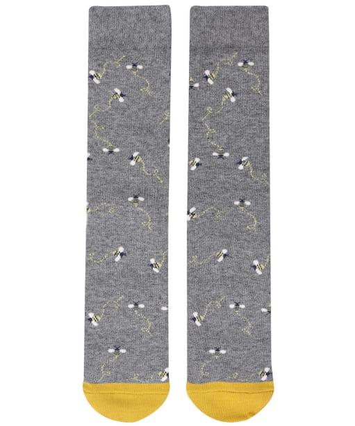Women's Joules Christmas Bamboo Single Socks - Grey Xmas Bee