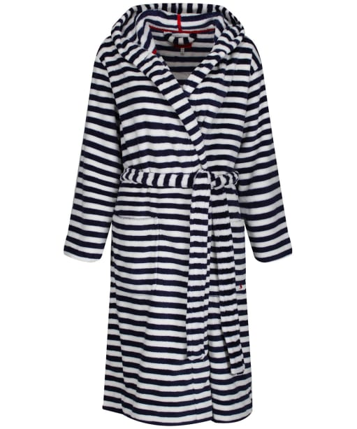 Women's Joules Rita Fluffy Dressing Gown - French Navy Star Stripe