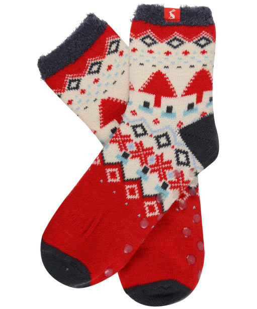 Women's Joules Cabin Socks - Dark Grey Fairisle
