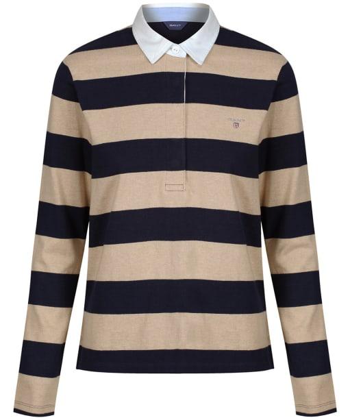 Women's GANT Barstripe Rugger Polo Shirt - Sand Melange