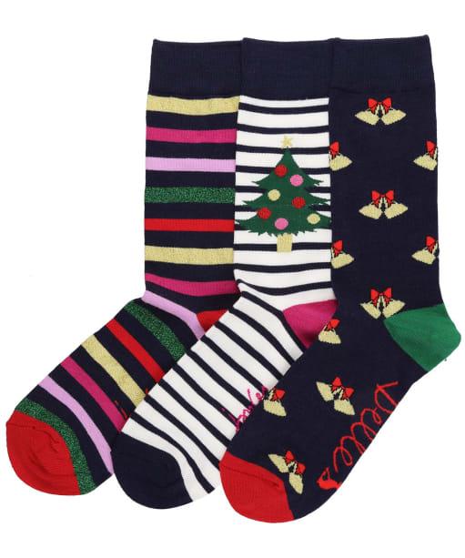 Women's Joules Christmas Bamboo Socks – 3 Pack - Navy Multi Xmas