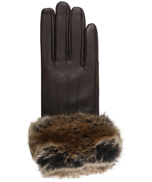 Women's Barbour Fur Trimmed Leather Gloves - Dark Brown