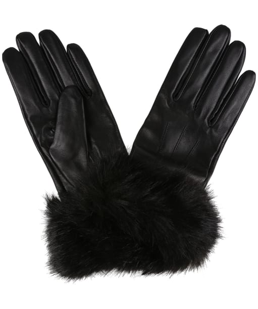 Women's Barbour Fur Trimmed Leather Gloves - Black