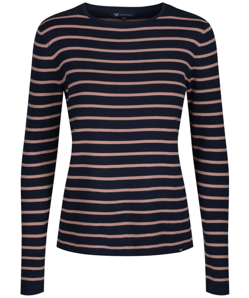 Women's Crew Clothing Harbour Stripe Jumper - Navy / Hazelnut
