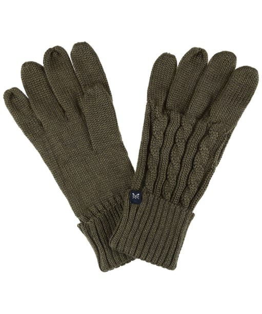 Men's Crew Clothing Wool Blend Cable Gloves - Peat Marl