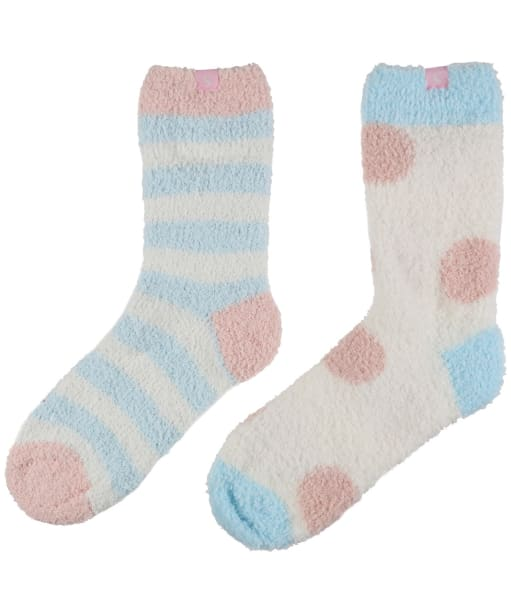 Women's Joules Fabulously Fluffy Shorties Socks - Blue Multi Stripe