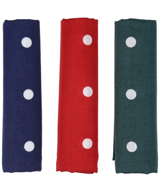 Men's Barbour Spotted Handkerchiefs - Boxed Set of Three - Red / Green / Navy