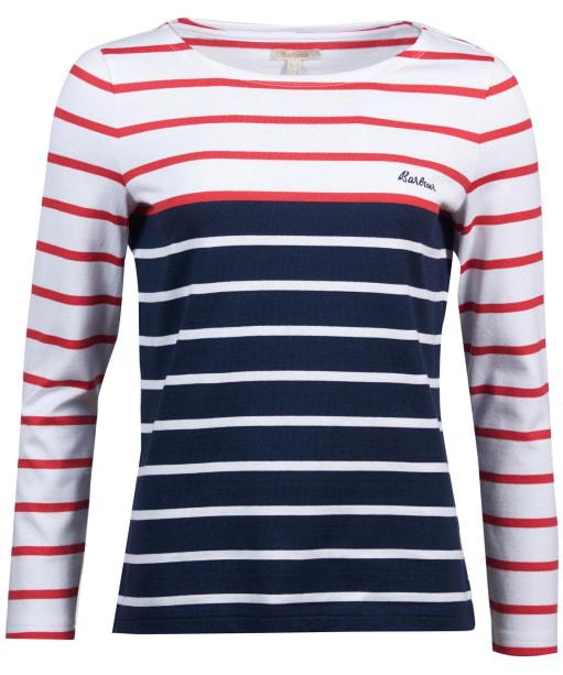 Women's Barbour Hawkins Breton Stripe Top - White / Brick Red