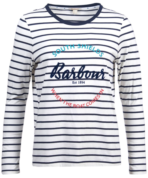 Women's Barbour Shoreward Long Sleeved Tee - White / Navy