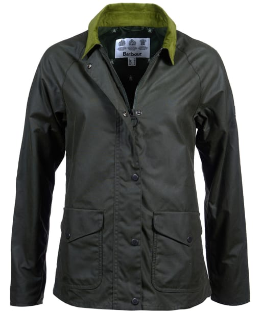 Women's Barbour Clifftop Waxed Jacket - Duffle Green