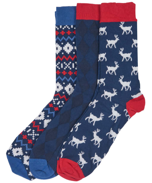 Men's Barbour Stag Fairisle Sock Set - Navy / Red