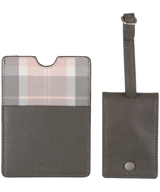 Women's Barbour Leather Passport Cover and Luggage Tag - Grey / Pink Tartan