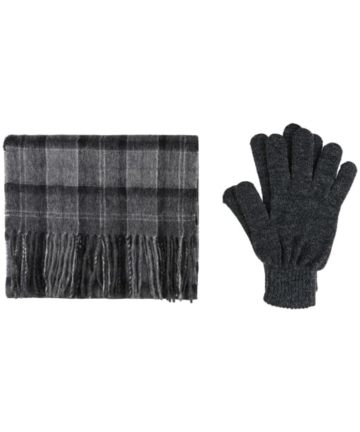 Men's Barbour Scarf and Glove Gift Box - Black / Grey Tartan