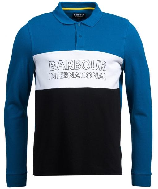 Men's Barbour International Panel Logo Long Sleeve Polo Shirt - Aqua