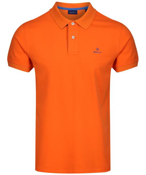 Men's GANT Contrast Collar Short Sleeve Rugger Shirt - Sunny Orange