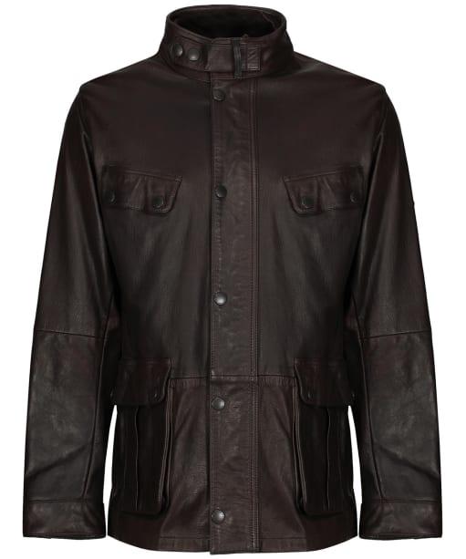 Men's Barbour International Hurricane Leather Jacket - Brown