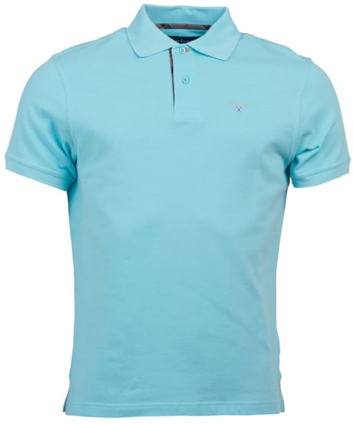 Men's Barbour Tartan Pique Polo Shirt - Aquamarine