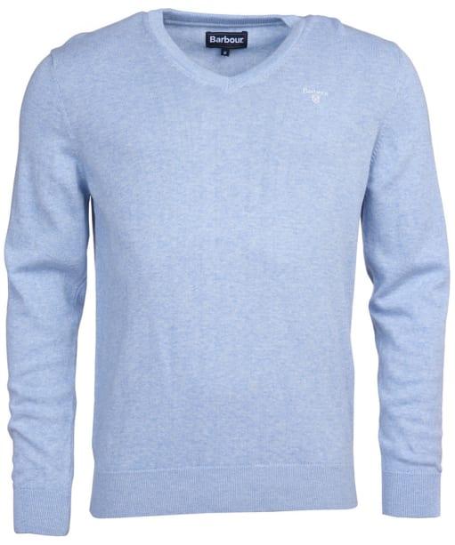 Men's Barbour Pima Cotton V-Neck Sweater - Pale Blue Marl