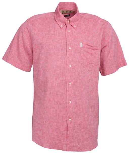 Men's Barbour Linen Mix 1 S/S Regular Shirt - Red
