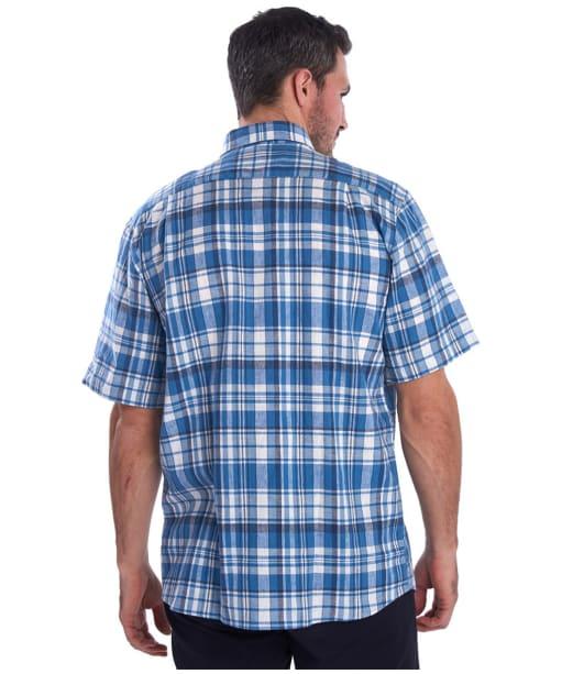 Men's Barbour Linen Mix 2 S/S Regular Shirt - Blue Check