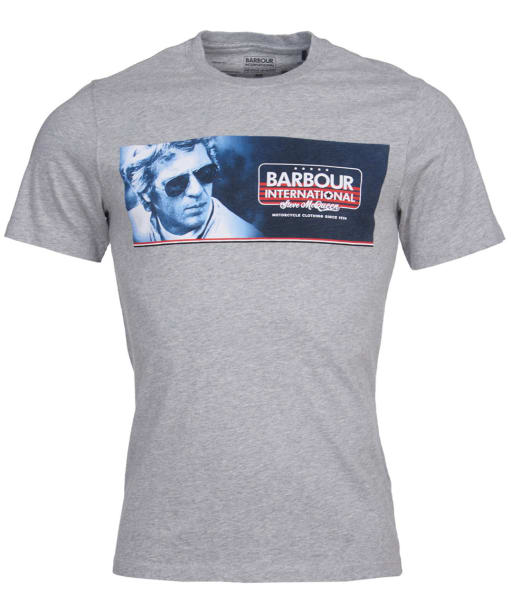 Men's Barbour International Steve McQueen Pinstripe Tee - Grey Marl