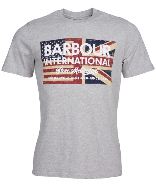Men's Barbour International Steve McQueen Vintage Flag Tee - Grey Marl