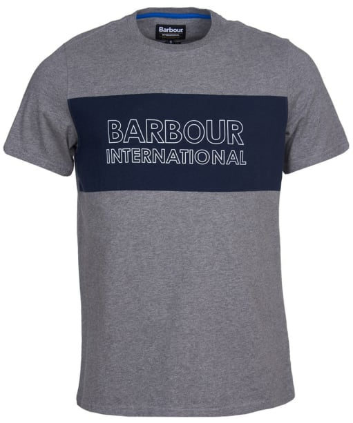 Men's Barbour International Panel Logo Tee - Anthracite Marl