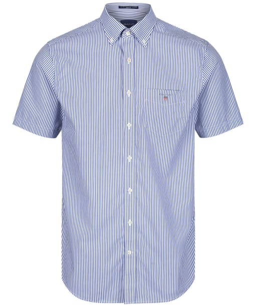 Men's GANT Broadcloth Banker Short Sleeved Shirt - College Blue
