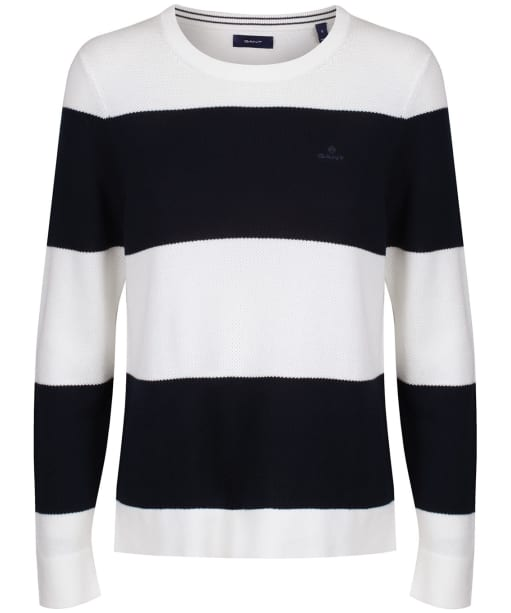 Women's GANT Cotton Pique Block Stripe Sweater - Evening Blue