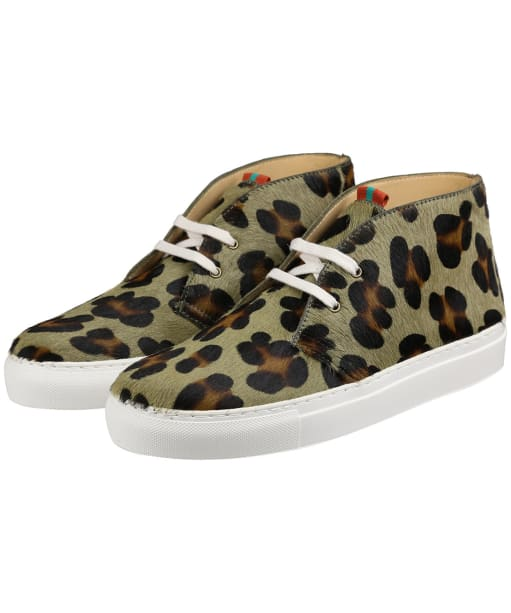 Women's Penelope Chilvers Jungle Pony Leopard Trainers - Khaki