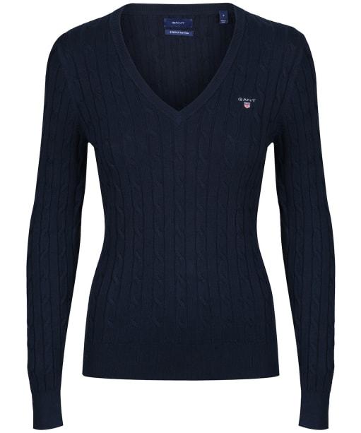 Women's Gant Stretch Cotton Cable V-Neck - Evening Blue
