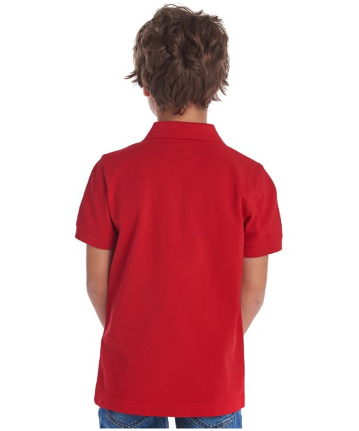 Boy's Barbour Tartan Pique Polo Shirt, 2-9yrs - Pillar Box Red