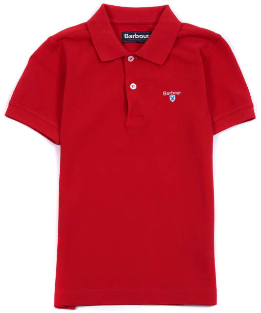 Boy's Barbour Tartan Pique Polo Shirt, 10-15yrs - Pillar Box Red