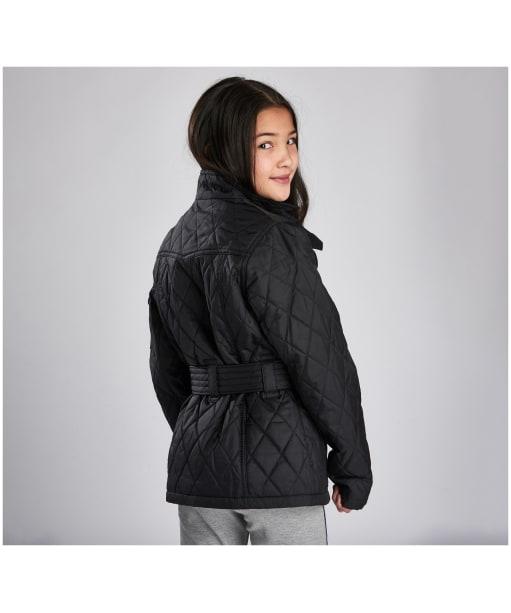 Girls Barbour International Quilted Jacket, 10-15yrs - Black