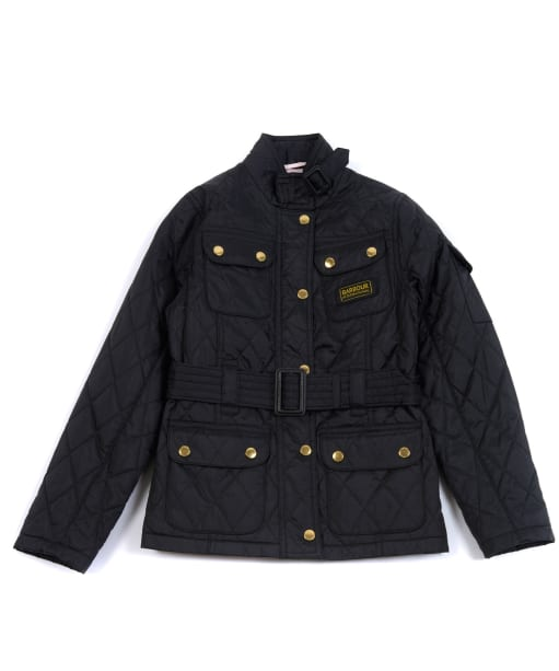 Girls Barbour International Quilted Jacket, 2-9yrs - Black