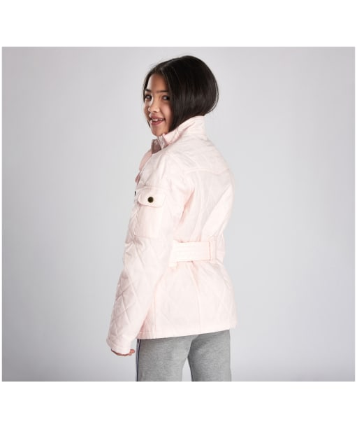 Girls Barbour International Quilted Jacket, 10-15yrs - Cameo Pink