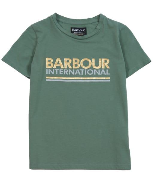 Girl's Barbour International Distance Tee, 2-9yrs - Tussock Green
