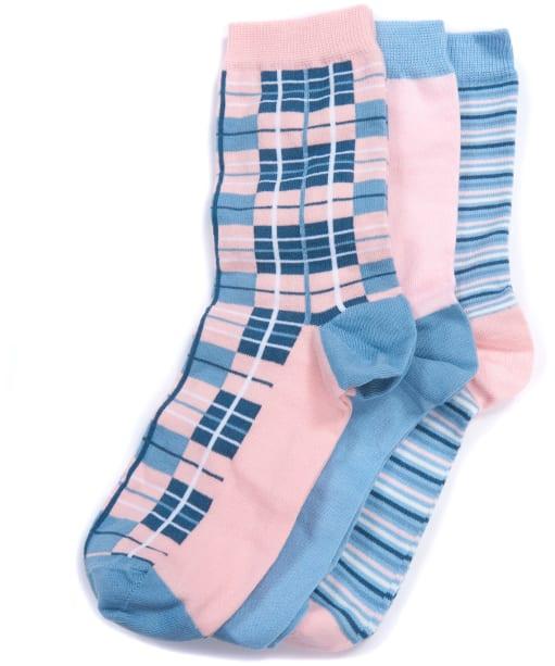 Women's Barbour Tartan Gift Box Socks - Blue / Beige