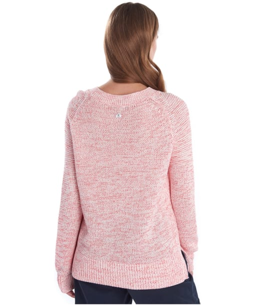 Women's Barbour Seaboard Knit Sweater - Coral / Off White