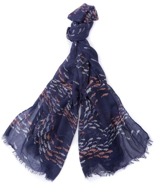 Women's Barbour Shoaling Fish Wrap - Mid Blue
