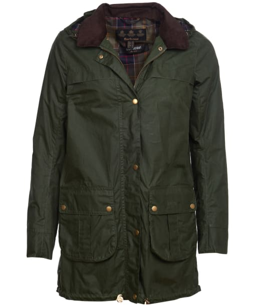 Women's Barbour Lightweight Cheviot Waxed Jacket - Duffle Green
