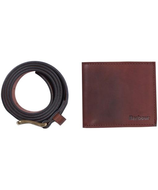Men's Barbour Leather Wallet and Belt Gift Set - Light Brown